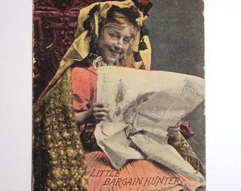 Antique Postcard - Edwardian Girl - Little Bargain Hunter - 1900s Vintage Paper Ephemera