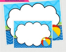 Pool Party Candy or Food Buffet Labels, Station Signs & Tent Cards Party Printables Design No. 425
