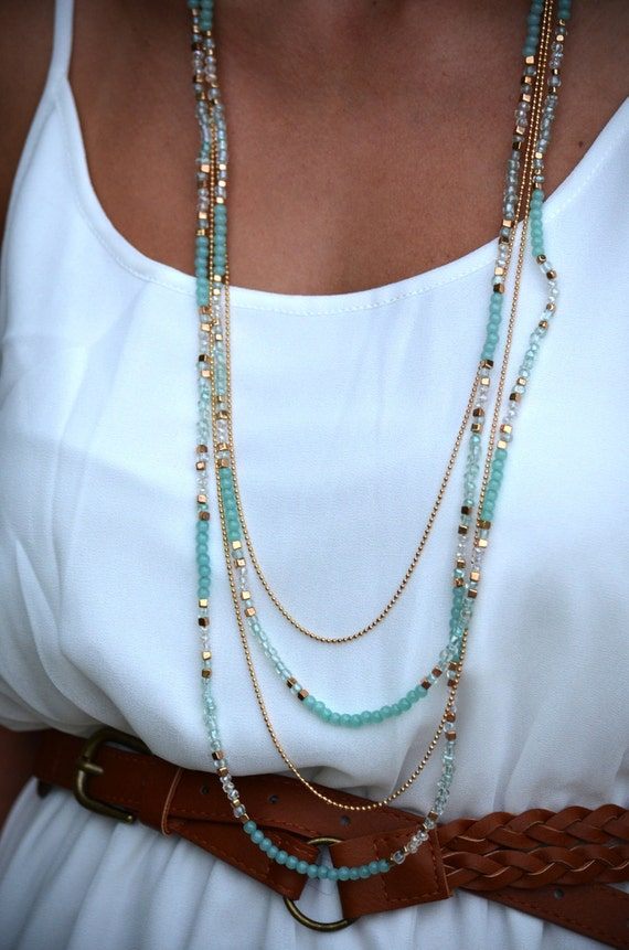 long layered mint  lavender gold beaded necklace  u0026 earring set