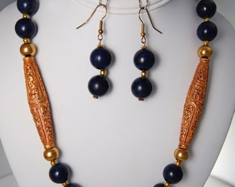 Gorgeous Lapis Necklace and Earring Set with Tibetian Gold Focal Beads