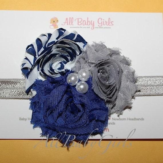Dallas Cowboys Inspired Headband, Blue Baby Headband, White Baby Headbands, Flowers Headband, Cowboys Headband, Blue Headband, Baby Headband