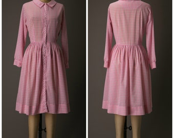 1950s Pink and White Gingham Shirtdress | Ladybird Classics