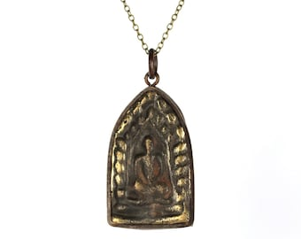 Buddha necklace - yoga necklace - thai buddha necklace - prayer - meditation - a rustic buddha pendant hanging from a 14k gold vermeil chain