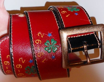 Vintage belt Banana Republic 1992 Four Leaf Clover all leather and brass red shamrock and western tattoo motif never worn Size 28