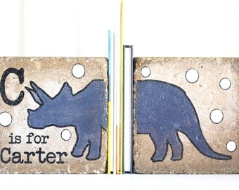 Child Bookends, Personalized Name Bookends/ Custom Nursery Decor/ Dinosaur Decor/ Child Name/ Boy Bookends/ Alphabet Dinosaur