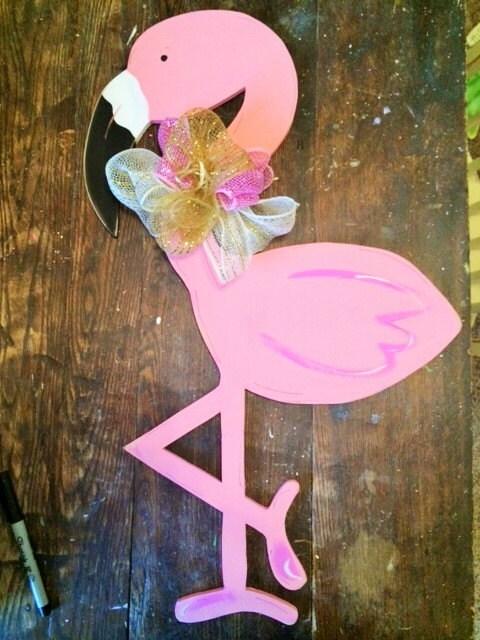 Flamingo Door Hanger Etsy