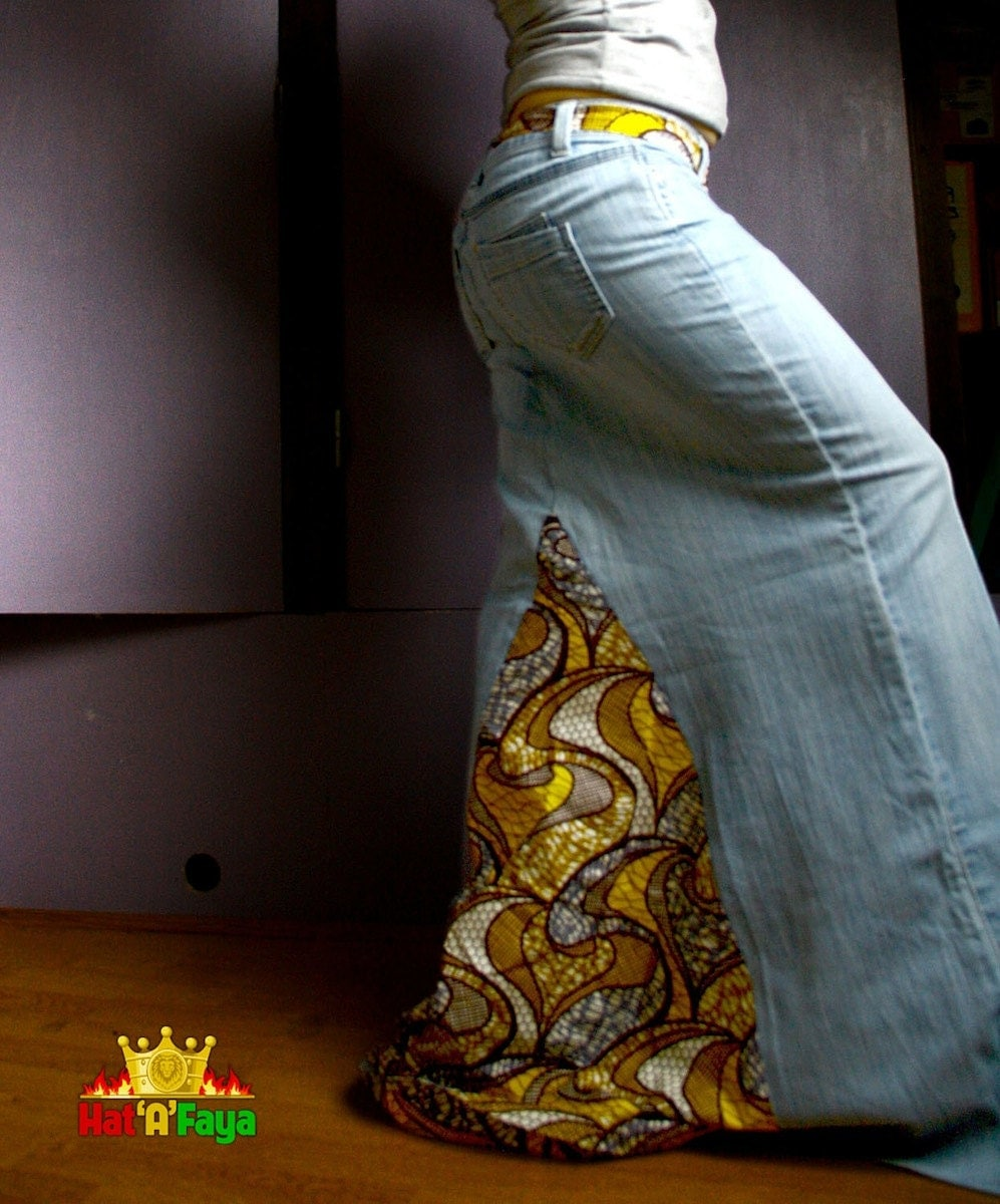 jupe longue en jean et tissus africain taille xs s 36eu. Black Bedroom Furniture Sets. Home Design Ideas