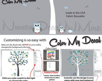 Children's Wall Decals, Blue and White Tree Decal with Owls, Owl Decals, Tree Stickers (Sm Tree, Reg Owl Set Blue White) SOT