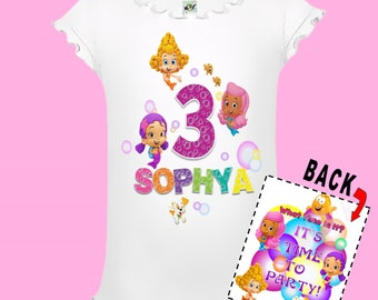 Bubble Guppies Girls Birthday Shirt - Double Sided Design