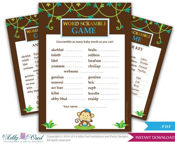 Word Scramble Boy Monkey Baby Shower Monkey Jungle,Safari Fun Game ...