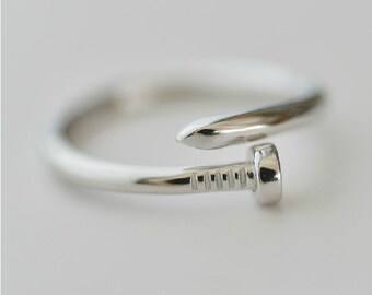 925 Sterling Silver Nail Adjustable Tail Silver Ring 002