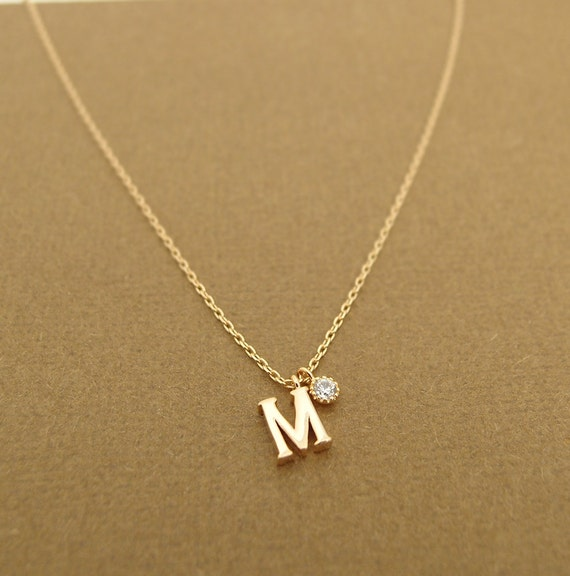 items similar to birthstone and hanging initial necklace With hanging letter necklace