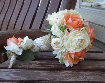 Coral Rose and Champagne Rustic Wedding Bouquet / Silk Bridal Bouquet / Silk Wedding Flowers / Country Wedding Bouquet / Real Touch Flowers