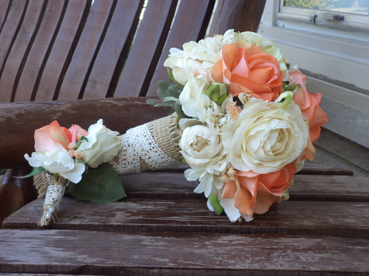 country wedding flowers coral and champagne rustic wedding bouquet silk bridal 3130