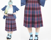 Plaid check skirt, wool p...