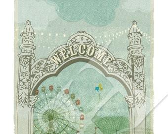 Carnival Wall Art Print - 8x10, Ferris wheel, circus art