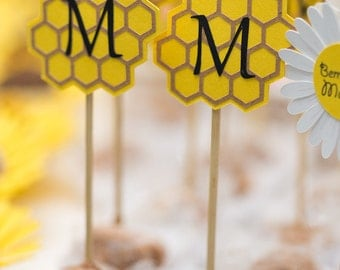 Bumble Bee Cupcake toppers Beehive, Personalized Monogram (set of 20)