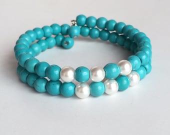 Turquoise Beads Swarovski White Pearls Bracelet B25