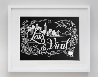 11x17 in Custom New York Wedding Papercut