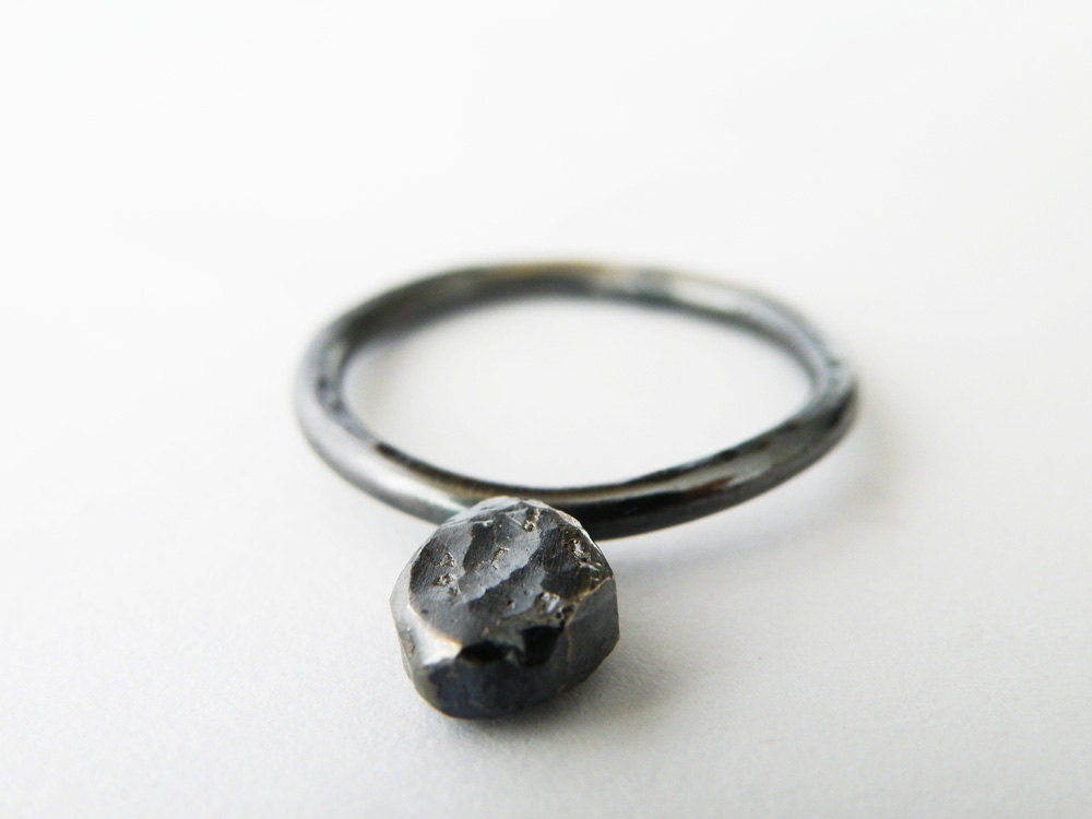 oxidized sterling silver stacking ring black silver ring
