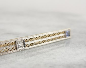 Early 1900's Filigree Bar Pin in Green and White Gold with Sapphires and Diamonds W7CL4C-D