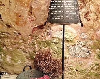 Rustic decorative lamp lighting floor lamp,Metal Olive Bucket Industrial Lighting Lamp,Basket lighting,recycled lighting