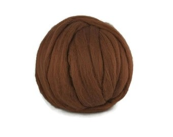 Merino wool roving 19 microns ,color Bark