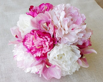 Wedding Natural Touch Pink Peonies and Orchids Silk Flower Bride Bouquet - Almost Fresh