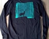 """Men's Black """"Deer Shirt"""" with image on the back"""