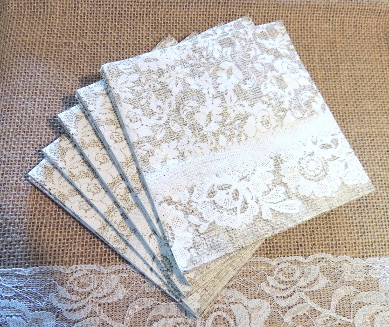 burlap and lace paper beverage napkins farmhouse wedding set. Black Bedroom Furniture Sets. Home Design Ideas