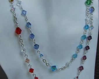Colorful crystal and chain necklace 0300NK