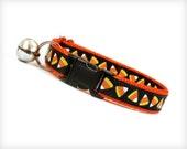 "Halloween Cat Collar - ""Trick or Treat"" - Candy Corn on Black & Orange"