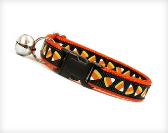 """Halloween Cat Collar - """"Trick or Treat"""" - Candy Corn on Orange - Breakaway Buckle or Non-Breakaway - Sizes for Cats + Small Dogs"""