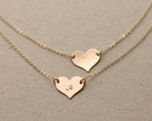 Initial Necklace Heart, 14k Gold Fill, Sterling Silver, 14k Rose Gold Fill, Personalized Necklace Monogram MEDIUM Heart Layered Long LN118_H