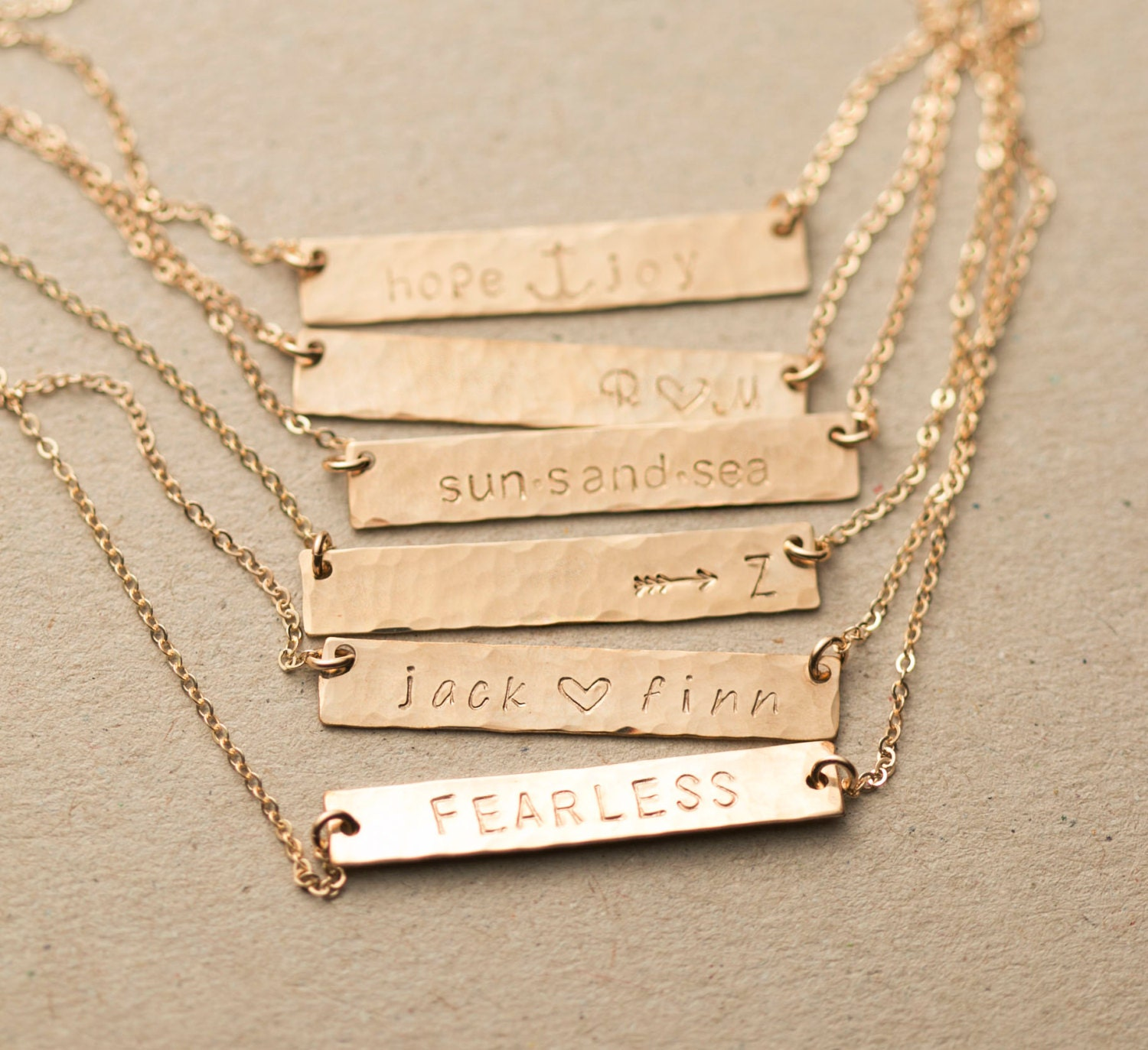Customized Hammered Name Bar Necklace / Personalized OR Blank