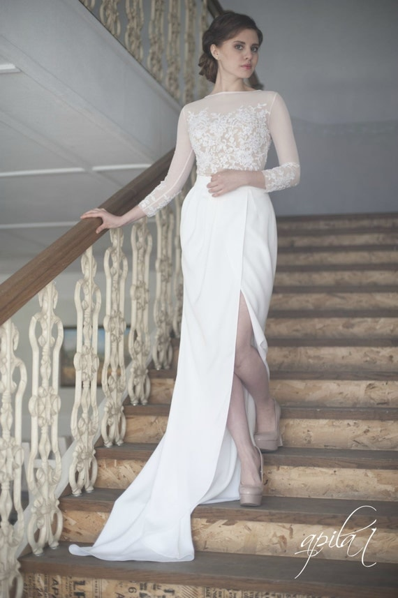 long wedding dress white and nude wedding dress crepe and With nude wedding dress
