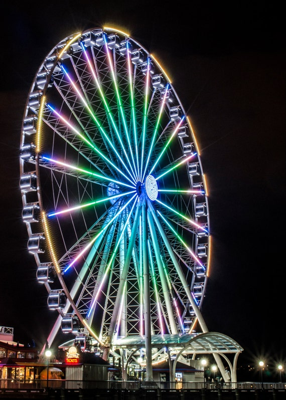 Seattle Ferris Wheel at Night. Waterfront Pier Ride. Light Show. Pacific Northwest. Travel Photography. Print by OneFrameStories.