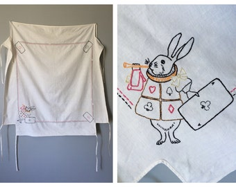 Vintage Alice in Wonderland Card Table Linen White Rabbit 1930s 1940s Alice's Adventures in Wonderland Party Table Cloth Embroidered Linens