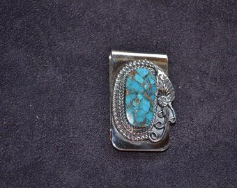 Handmade Sterling Silver and Turquoise with Bronze Money Clip