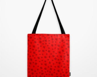 Canada Maple Leaf Tote Bag, Red Canada Flag Shoulder Bag