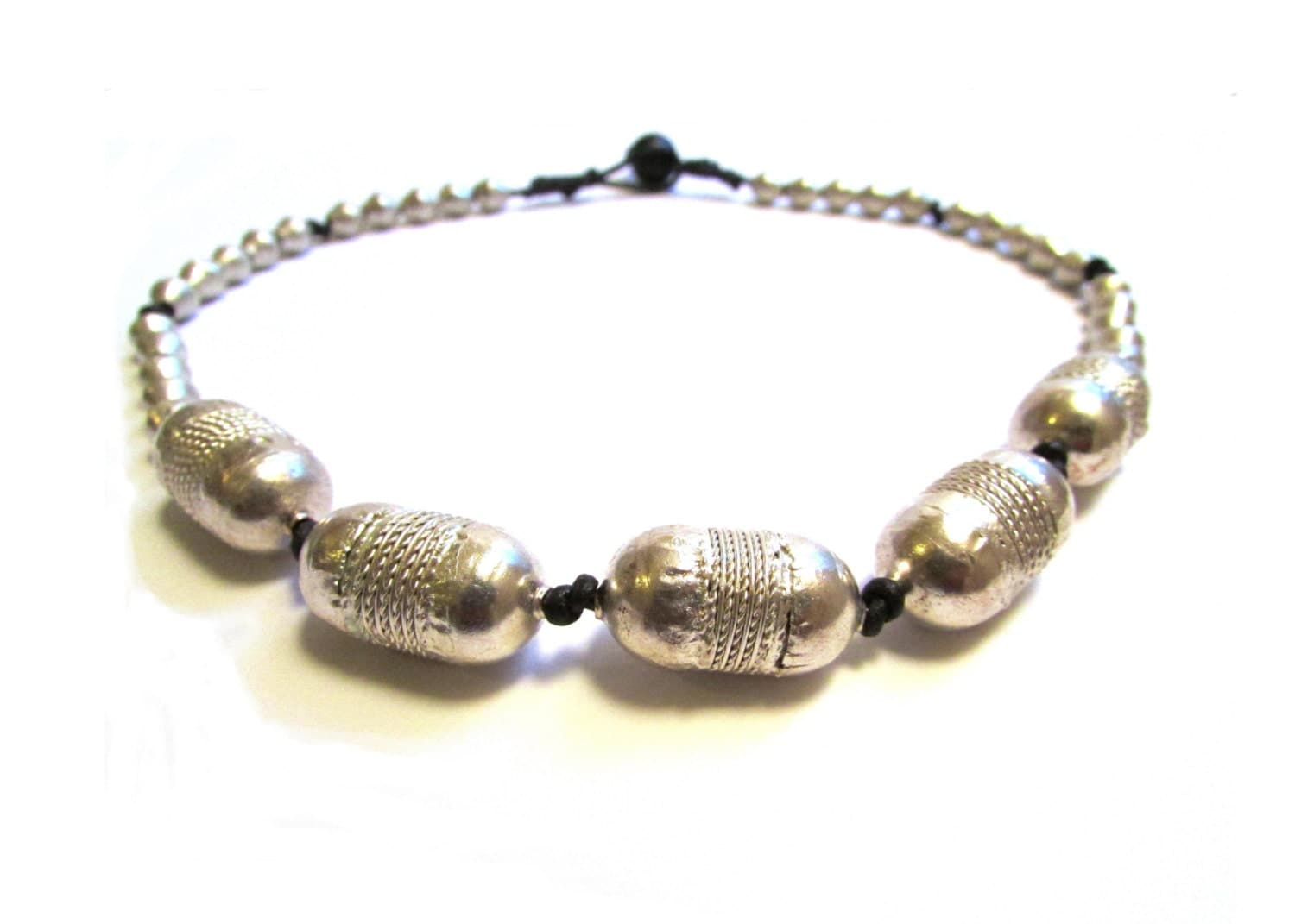 inspired beaded necklace black and silver by