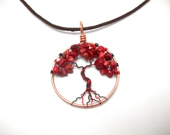 Red Coral Tree Pendant, red and black tree necklace, boho jewelry