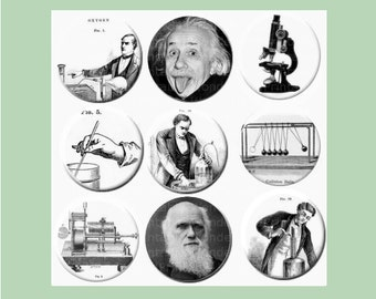 Science Digital Collage Sheet - black and white - 1 inch circles - Instant download - Scientists: Einstein, Darwin