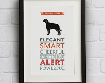 Gordon Setter Dog Breed Traits Print