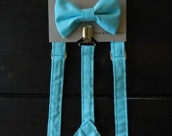 Boys Suspenders Bow Tie set Powder Blue
