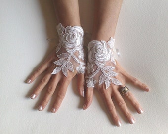 Ivory or white Wedding gloves bridal gloves lace gloves fingerless gloves ivory gloves french lace gloves free ship