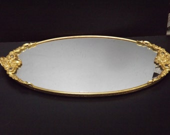 Vintage, Gold plated vanity mirror tray