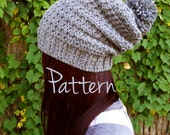 Crochet Pattern Slouchy Beanie Pom Pom Winter Fall Autumn Hat Textured Easy Beginner PDF Tutorial Download Slouch Cute Comfy Womens Teen