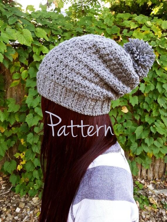 Crochet Pattern Slouchy Beanie Pom Pom Winter Fall Autumn ...
