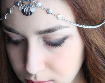 CHAIN HEADPIECE Head Chain, Vintage Head chain, headdress gypsy head piece .